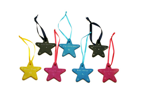 Hanging Message Stars 5 cm (24 per display box - min 24)