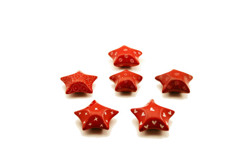 Red Retro Stars 4 cm (24 per display box - min 24)