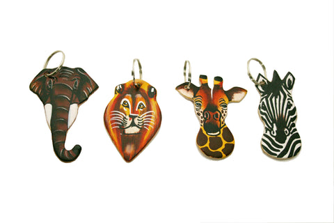 Leather Painted Animal Keyrings (min 24)