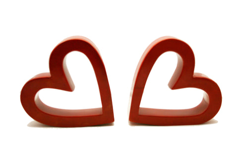 Twin Red Slanted Hearts (min 1)