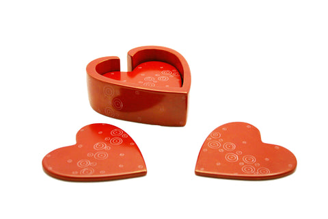 Red Heart Coasters - Set of 6 (trade min 4 sets)