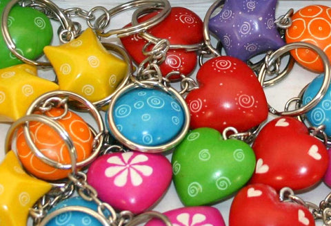 Assorted Shape Keyrings 3 cm (24 per display box - min 24)