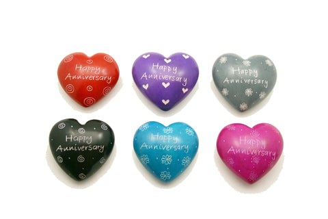 Happy Anniversary Message Hearts 4 cm (24 per display box - min 24)