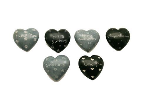 Black & Grey Message Hearts 4 cm (24 per display box - min 24)
