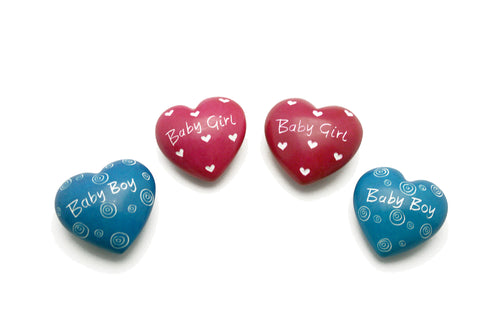 Baby Boy & Girl Message Hearts 4 cm (24 per display box - min 24)