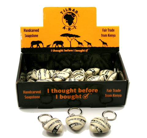 Bogolan Belt Heart Keyrings 2 cm (24 per display box - min 24)