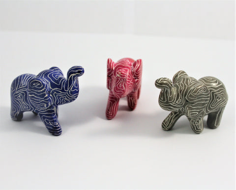 Mini Pink, Blue & Grey Sagana Elephants 3 cm (24 display box - min 24) (New Product in Stock April 2019)