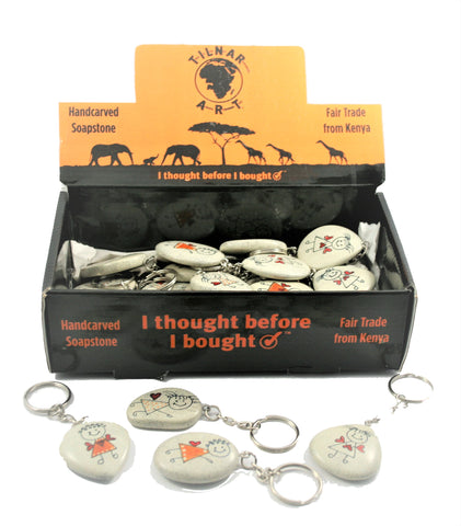 Happy Angel Pebble Keyrings (24 per display box - min 24) (New Product in Stock April 2019)