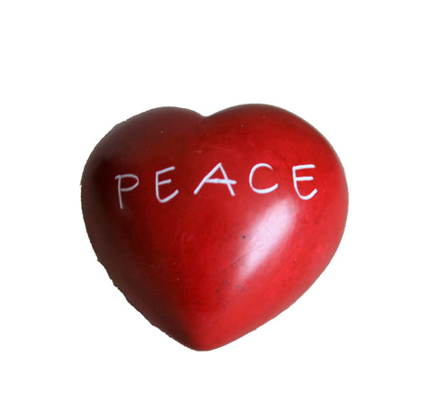 Red Peace Round Heart - 5 cm  (12 per display box - min 12)
