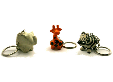 Serengeti Animal Keyrings 4 cm (24 per display box - min 24)