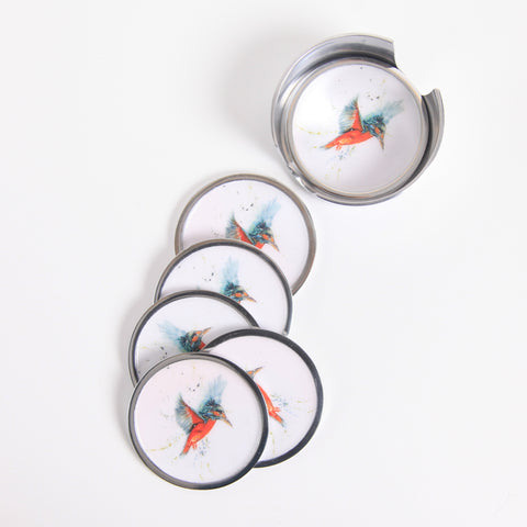 Kingfisher Coaster Set of 6 (trade min 4)