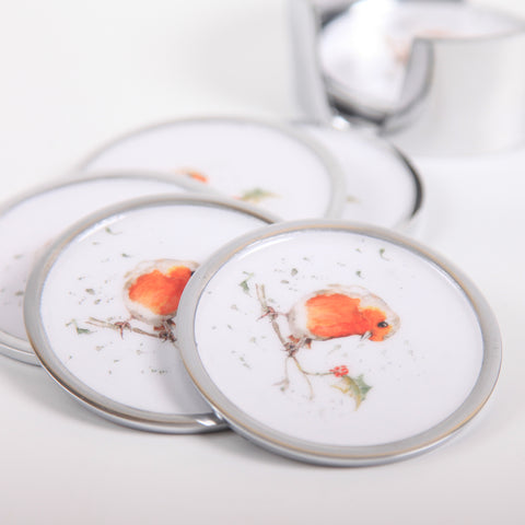 Robin & Holly Coasters Set of 6 (min 4) (New Product in Stock April 2019)