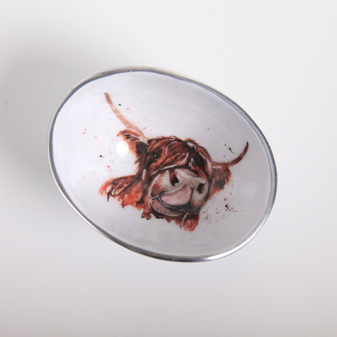 Highland Cow Oval Bowl Petite (min 4) (New Product in Stock March 2019)