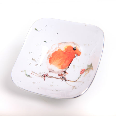 Robin & Holly Square Bowl (min 4) (New Product in Stock April 2019)