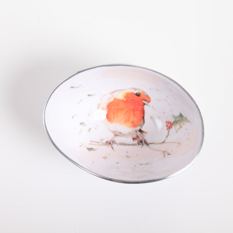 Robin & Holly Oval Bowl Small (min 4) (New Product in Stock April 2019)