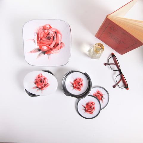 Red Rose Coaster Set of 6 (min 4)