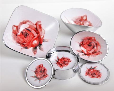 Red Rose Oval Bowl Petite (min 4)
