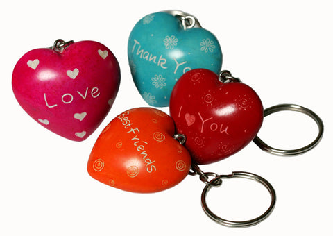 Message Heart Keyings 3 cm (24 per display box - min 24)