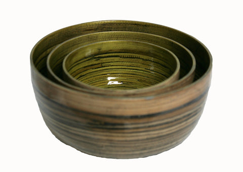 Mosstone Green Interior Bamboo Bowl - Large (largest bowl pictured)