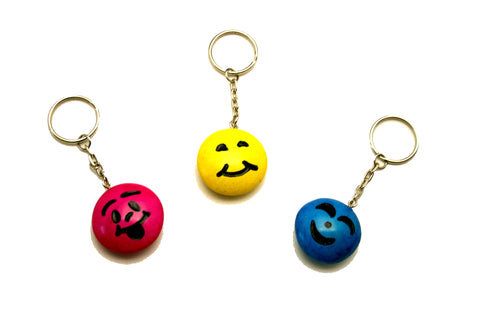 Happy Soapstone Smiley Keyrings 3 cm (24 display box - min 24)