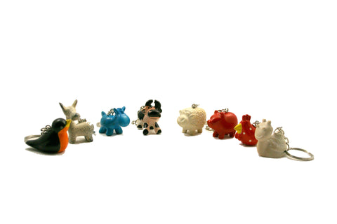 Mini Soapstone Farm Animal Keyrings 3 cm (24 display box - min 24)