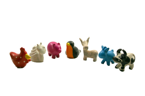 Mini Soapstone Farm Animals 3 cm (24 display box - min 24)