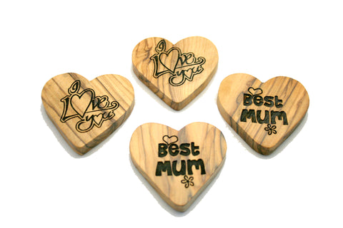 Olivewood Message Hearts - Love, I love you, Hope, Best Mum (min 24)