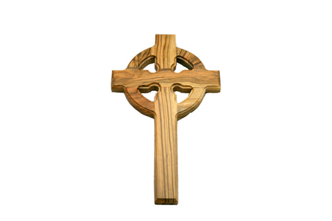 Olivewood Gaelic Cross with Hanger Large (min 2)