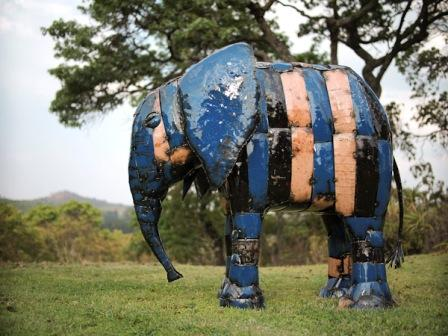 Standing Coloured Metal Elephant
