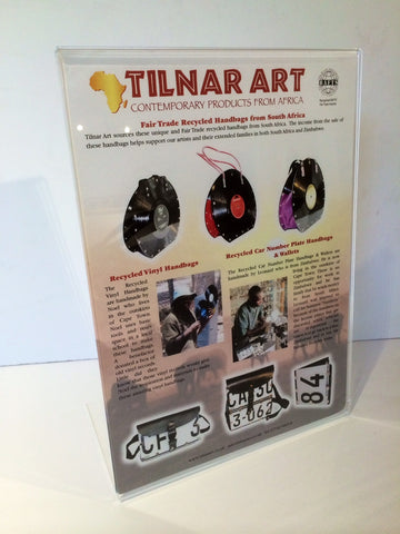 Point of Sale Poster for our Recycled Handbag Collection