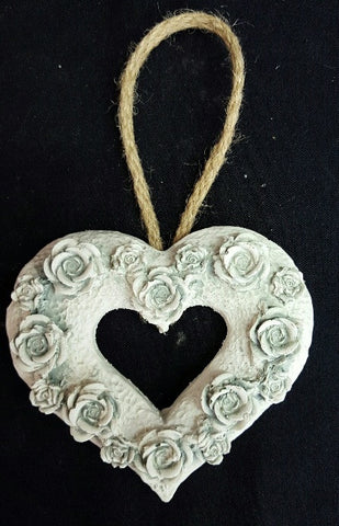 Rose Cut Out Heart - Duck Egg (trade min 8) 11 cm