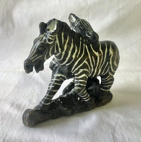Soapstone Zebra Mother & Baby 15 cm *In Stock From April 2018*