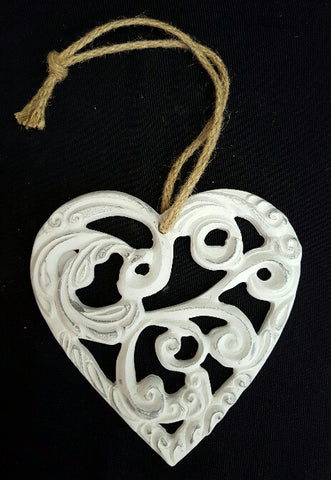 Large Scroll Hearts - White & Silver (min 6) 15 cm
