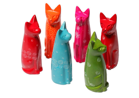 Sitting Coloured Cats - (min set of 6)