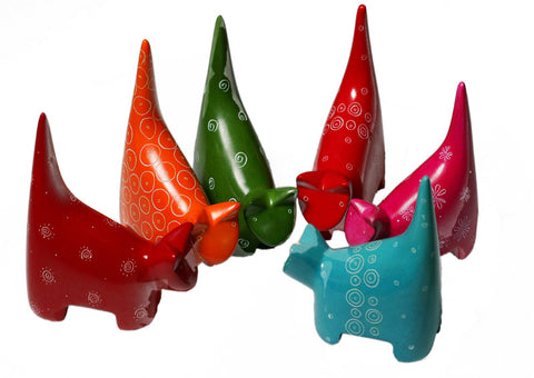 Tail Up Coloured Cats - (min set of 6)
