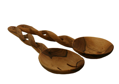 Olivewood Twisted Salad Servers - Pair