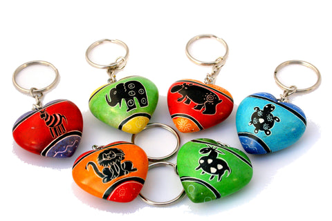 Funky Animal Heart Keyrings 3 cm (24 per display box - min 24)