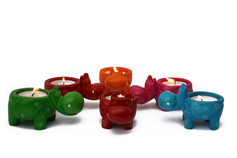 Mara Hippo Tealight (assorted colours - trade min set of 6)