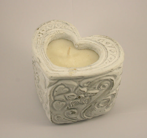 Natural Heart Rose Scented Candle (trade min 4) 11cm
