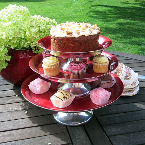 Red Cake Stand Small - SOLO PRODUCT SPECIAL SALE PRICE (min 2)