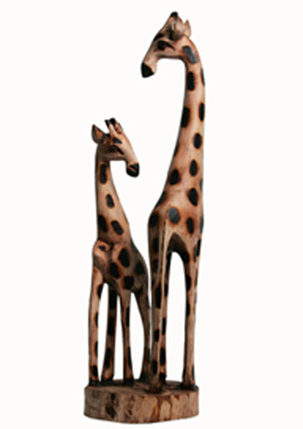 Wooden Giraffe Mother & Baby 20""