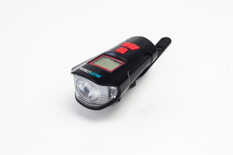 XT19 - Bicycle Light USB Charging Front Light , Horn , Speedometer with LCD Screen - Red