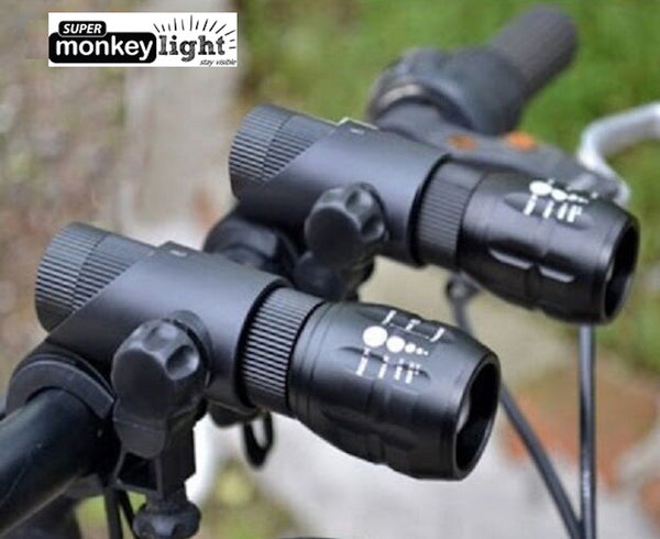 SuperMonkey M14 - Two front zoom focus LED bike lights set