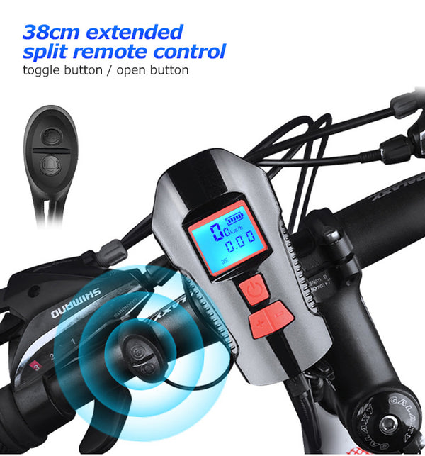 SuperMonkey XT19 - Bicycle Light USB Charging Front Light , Horn , Speedometer with LCD Screen - Black