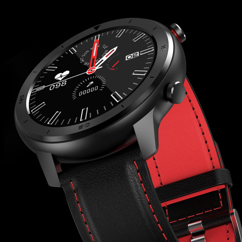 Monkeylectric SWISS87 Smartwatch - Red/Black Leather