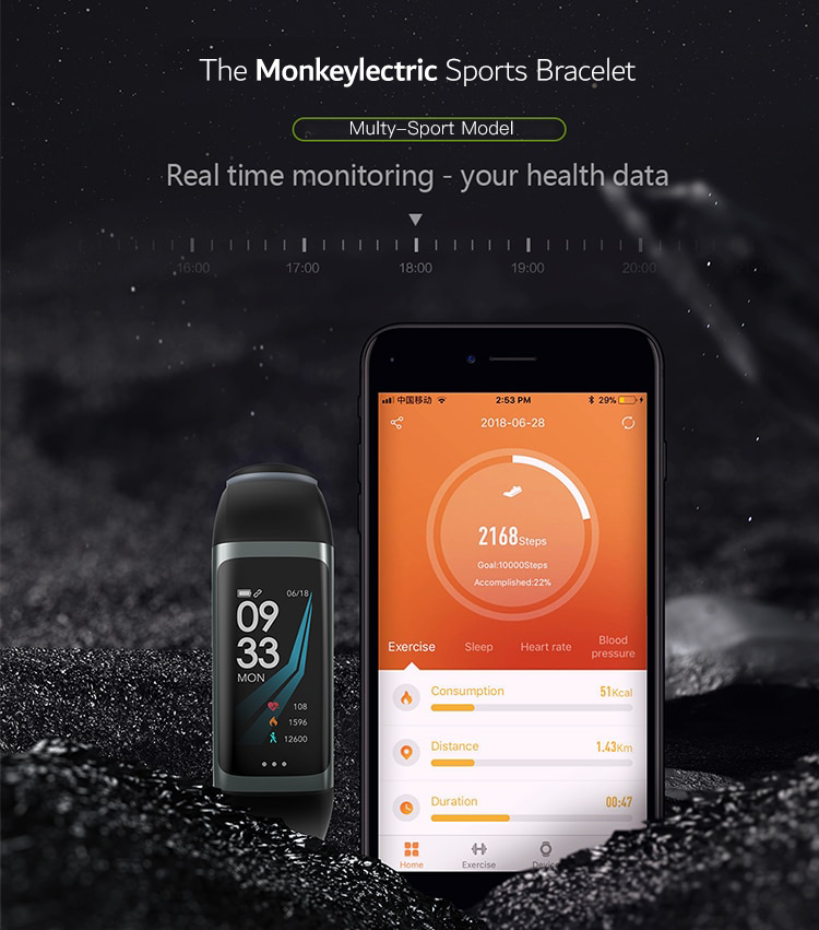 Monkeylectric FitZ Smartwatch - Phantom Black