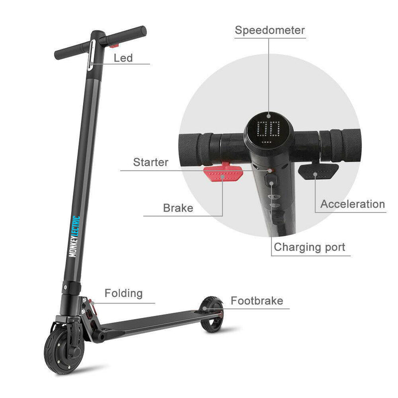 Monkeylectric S14 - 6inch Electric Scooter 480W - Phantom Black