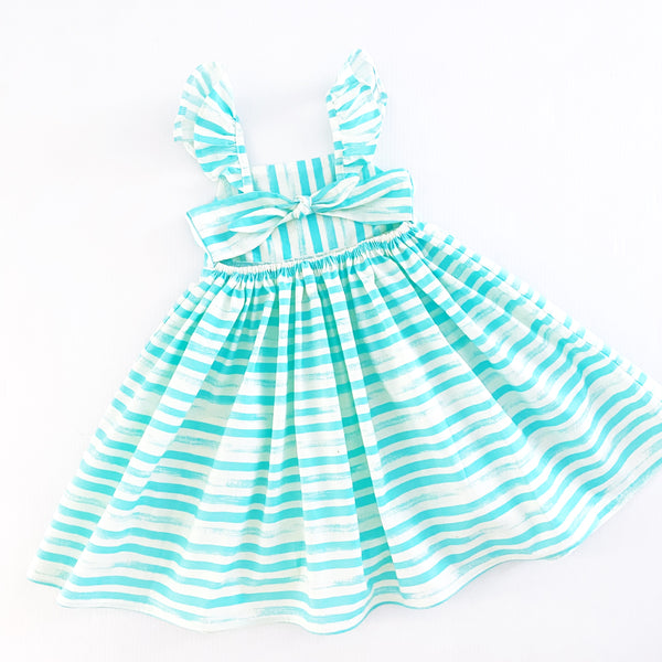 Striped Dress - Aqua Size 4