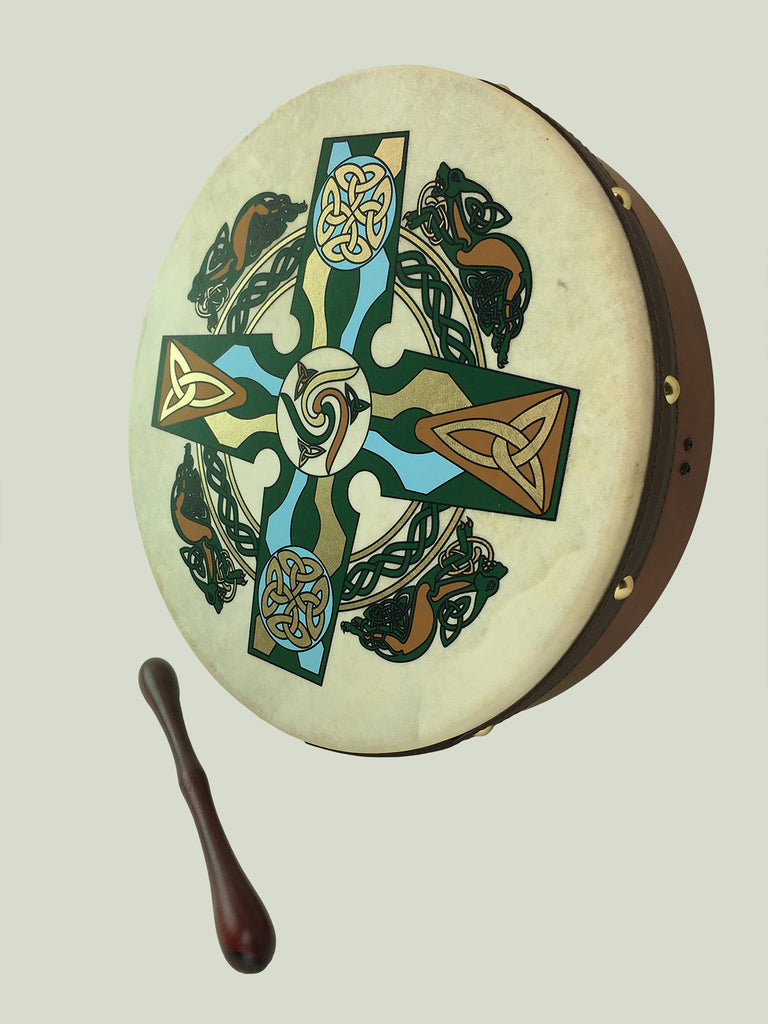 Celtic Bodhrán With Green Celtic Knot Design