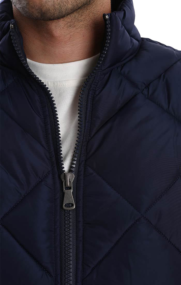 Navy Quilted Puffer Jacket - jachs